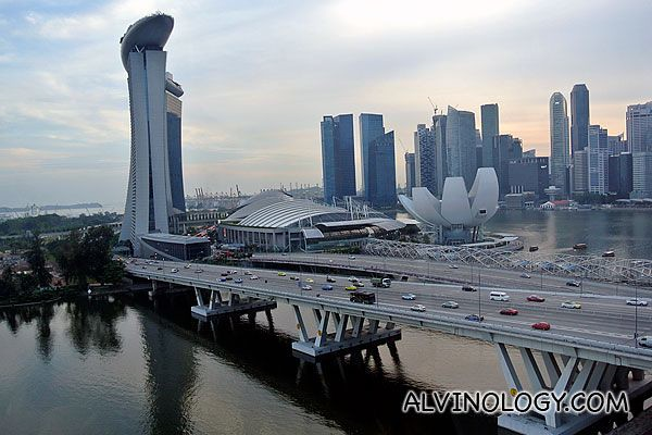 View of Marina Bay Sands from Singapore Flyer capsule