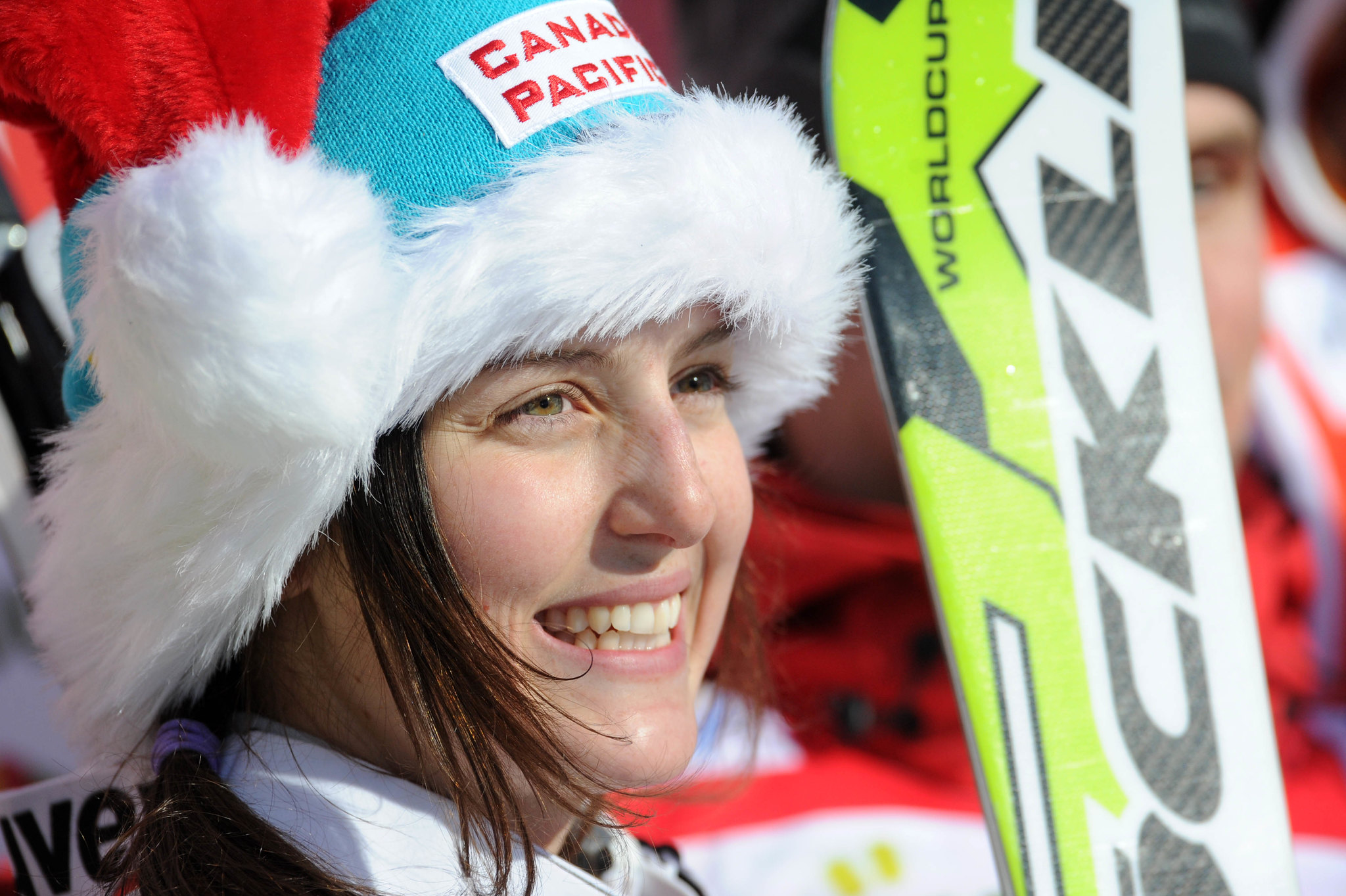 Kelsey Serwa on the podium, soaking in her win at the ski cross World Cup in Innichen/San Candido, ITA