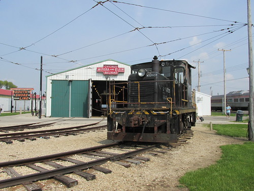 A former U.S  Army  General Electric 45 ton side rod center cab diesel switcher.  The Illinois Railway Museum.  Union Illinois.  Saturday, May 18th, 2013. by Eddie from Chicago