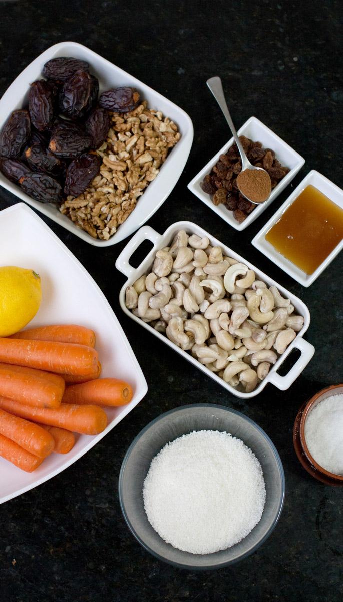 Ingredientes para hacer los pastelitos crudiveganos sin almidón