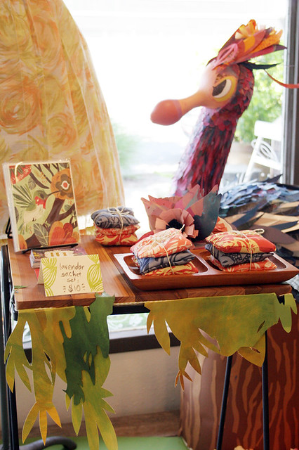 Firebird window display by Meg Hunt for Wanderlust in Portland, OR