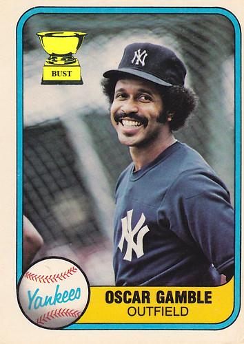 Baseball Card Bust Oscar Gamble 1981 Fleer