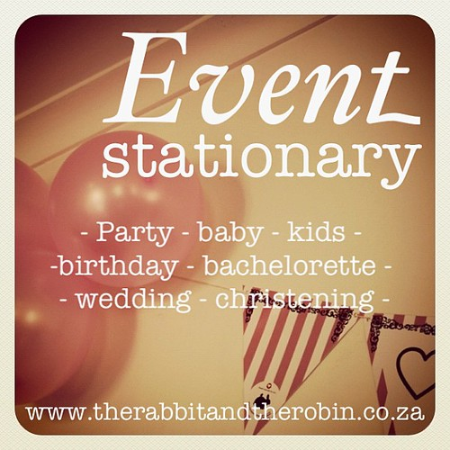 Event Stationary by  @rabbitandrobin - Website www.therabbitandtherobin.co.za , Twitter & Instagram @rabbitandrobin , Facebook The Rabbit & The Robin #partystationary #eventstationary #party #rabbitandrobin #partydecor #party #kidsparty #design #children