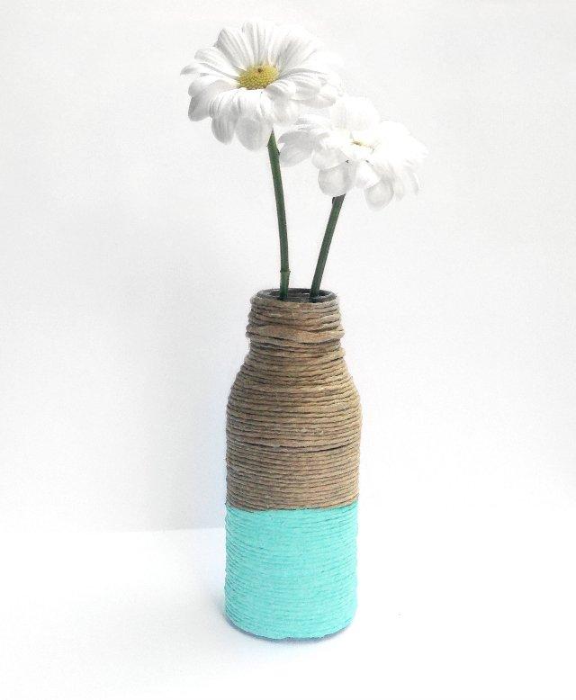 wrapped bottle vase