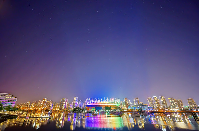 Rainbow BC Place at Starry Starry Night