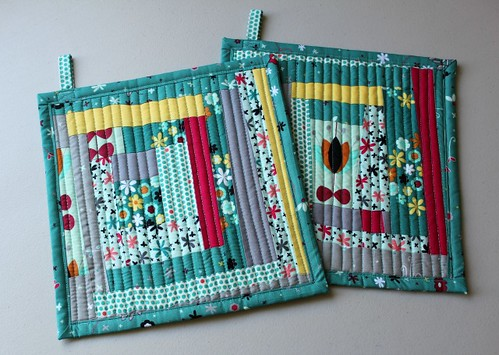 wonky log cabin potholders to swap; fabric is Nordika by Jeni Baker by flickrdeb50