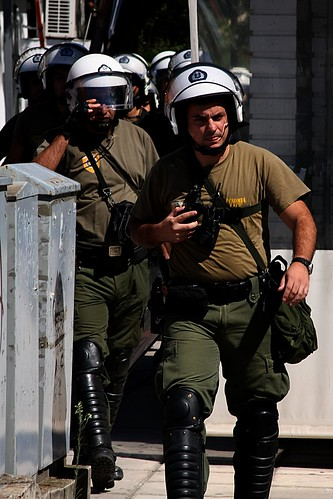 Greek riot police take up positions to protect Golden Dawn offices against anti-fascist protesters by Teacher Dude's BBQ
