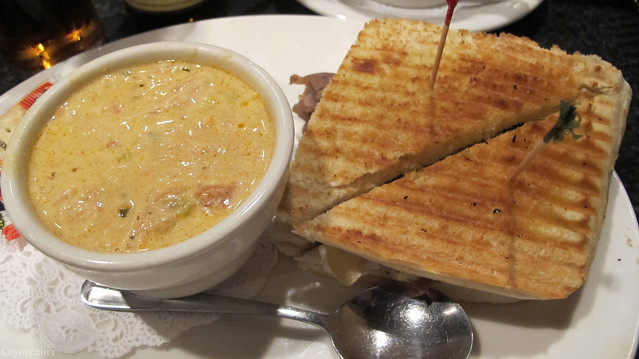 Southwest chicken cheese soup and crabcake panini