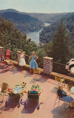 vintage terrace kentucky postcard lodge cumberlandfalls corbin sitandstare