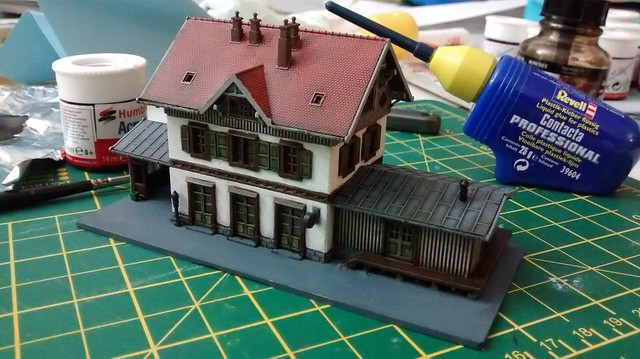 z-scale train station fully assembled and nearly finished