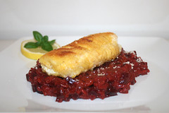 47 - Beetroot risotto with spined loach - Side vie…