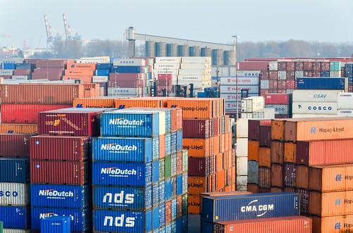 Conteneurs (fret maritime) du port de Rotterdam