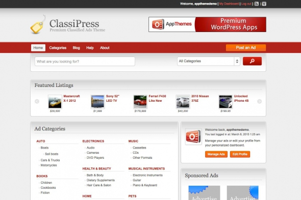 AppThemes Classipress v3.5.8 - Bestselling Classifieds Theme For WordPress