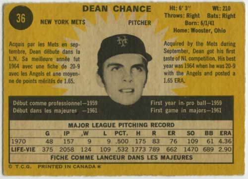 1971 O-Pee-Chee Dean Chance back