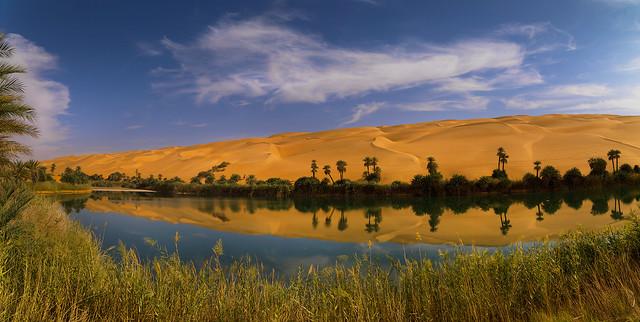 Umm al-Maa oasis in Ubari lakes