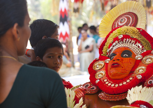 Theyyam Aritst Making Big Eyes While Performing Theyyam Ritual, Thalassery, India