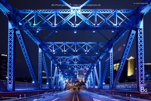 guangzhou china bridge heritage night landscape lights neon steel lightup zhuhai gz 中國 廣州 500px 海珠橋