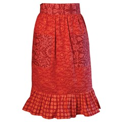 art, orange, day dress, textile, clothing, red, maroon, skirt,