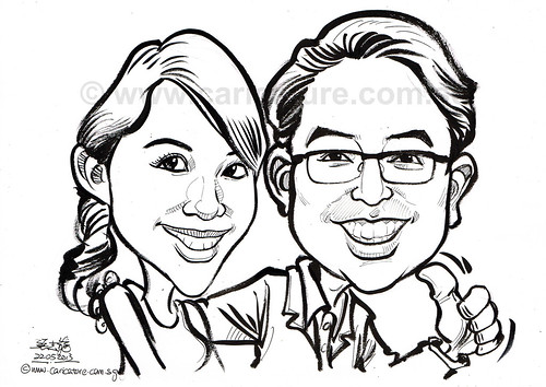couple caricature in pen and brush 22052013