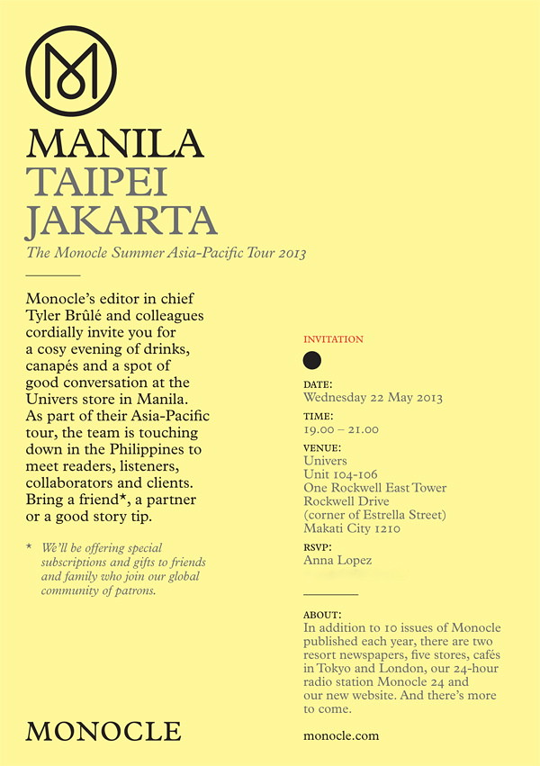 Monocle invitation