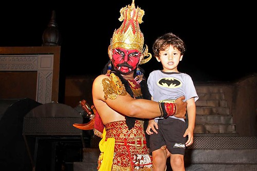 Ramayana dancer with a young boy