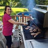 Liliana at the grill! #cookout #burgers