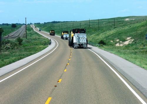 The convoy moving through the sandhills