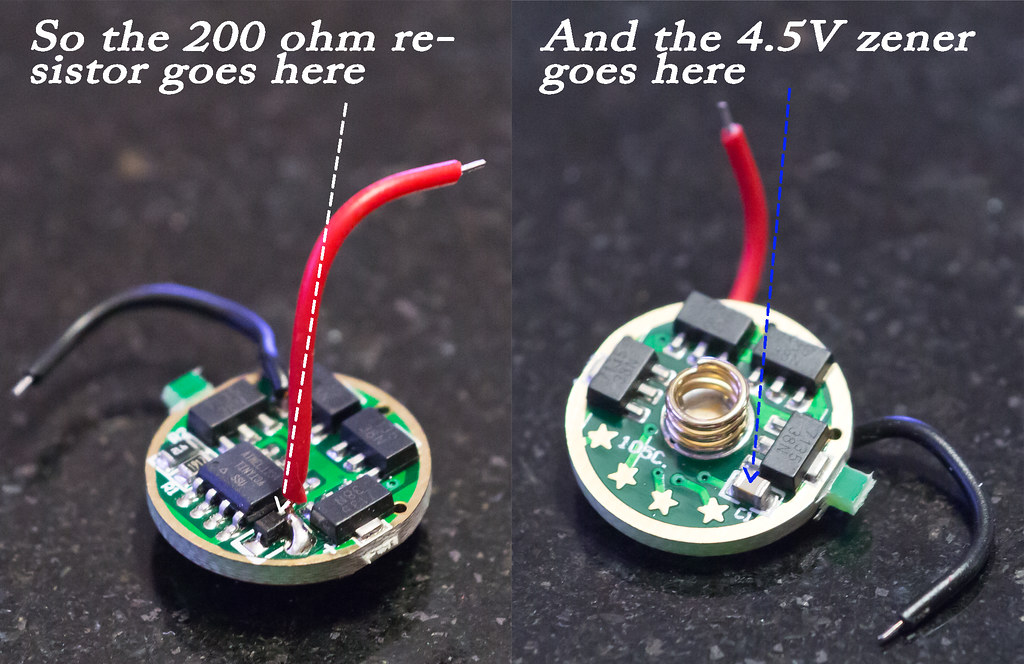 Resistor and zener placement