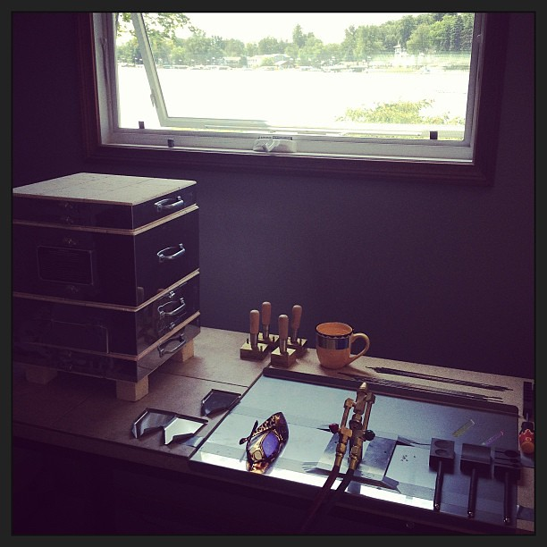 The lake house studio is finally set up and functional! #thisartistslife #glassaddictions