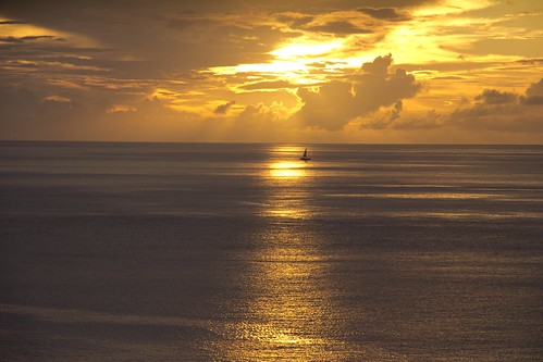 sunset sea cloudy stlucia sailingboat