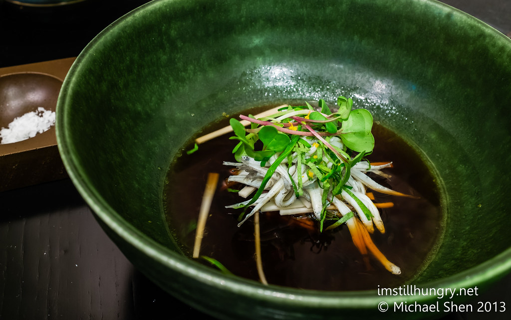 New Zealand whitebait, braised ox cheek dashi, heart of palm, yuzu hijiku, mitsuba Sepia