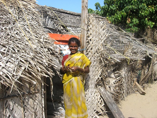 The dwellings of the fisherfolk are temperory kaccha settlements with thatched walls and roofs. The houses lack basic facilities like electricity, water and toilets