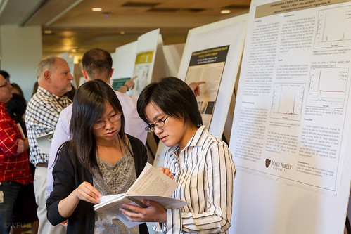 Wake Forest students present the results of their research projects at the Undergraduate Research Day in Benson University Center on Friday, October 4, 2013. Senior chemistry and biochemistry major Sophia Liu ('14) discusses her research.