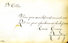1880s Ollie's autograph album - Carrie Conover, Princeton, NJ 25of51