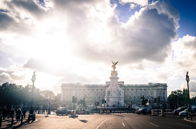 A sunny view of Buckingham Palace in London, England.