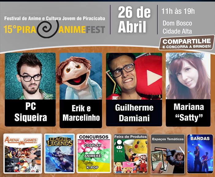 Vem aí o 15° Pira Anime Fest, que está repleta de atrações especiais