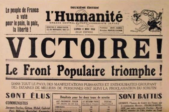 今天宣布「馬克思主義者」必須與自由派、社民派「結盟」,「反對法西斯」、「保衛民主」,否則就是「斯大林主義死狗」的人們,似乎忘記了他們的路線,正正就是1930年代斯大林主義者保衛資本主義、絞殺工人革命的配方。圖為法國斯大林派黨報慶祝自由派、社民派「人民陣線」選舉聯盟勝利。