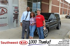 Happy Anniversary to Michelle on your #Kia #Soul from James Adams at Southwest KIA Rockwall!