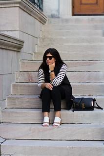 long black vest, striped shirt, white mules, black pants-5.jpg