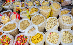 Dried foods for sale at local market in Delhi, Ind…