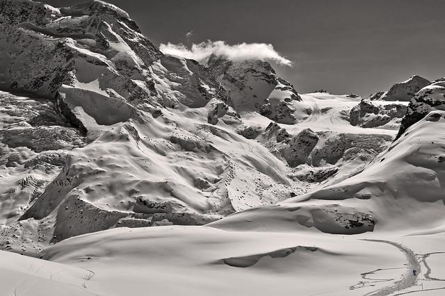 The Klein Matterhorn (3, 883 alt. ) the Breithorn , the Theodulgletscher and the Theodul pass. A view from the train to Gornergrat .Zermatt , Switzerland. No. 4358.