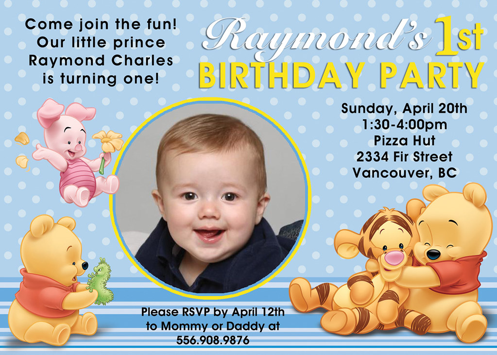 Winnie The Pooh Custom Birthday Invitation