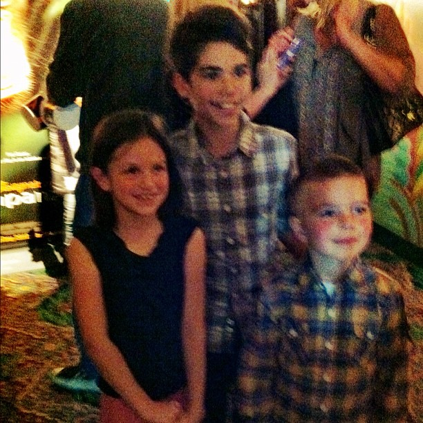 "Stella, Cameron Boyce who plays ""Luke"" on Jessie, and Angry Kid at #chimpanzee today."
