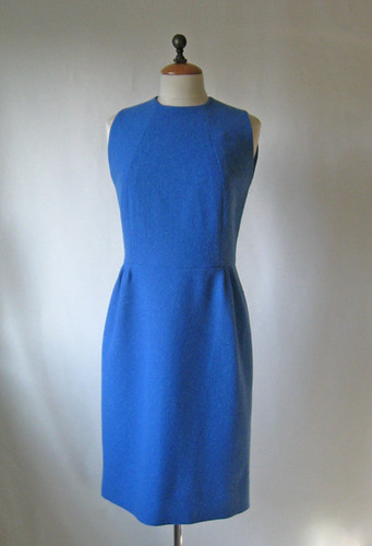 Blue vintage dress front on form