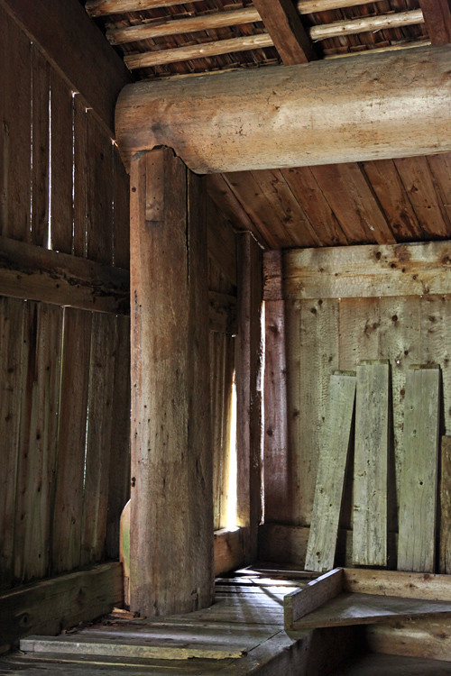 roof support inside Naay I'waans, Chief Son-i-Hat Whale House, Kasaan, Alaska
