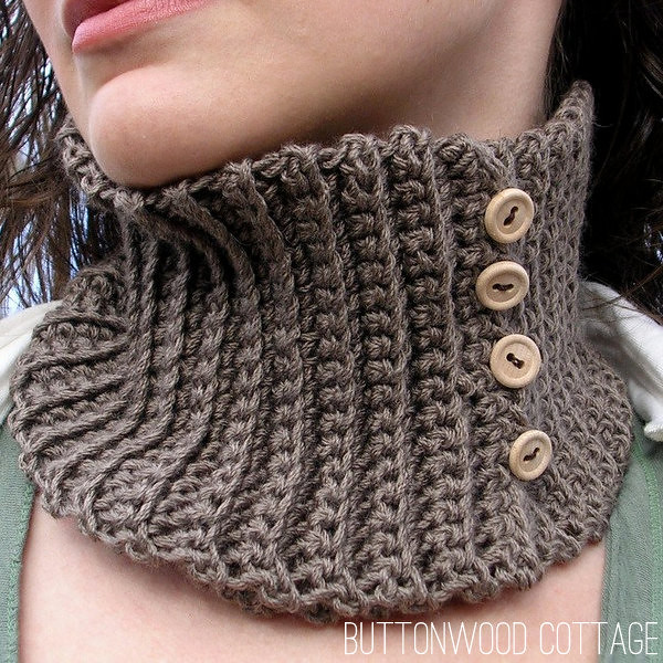 taupe button cowl
