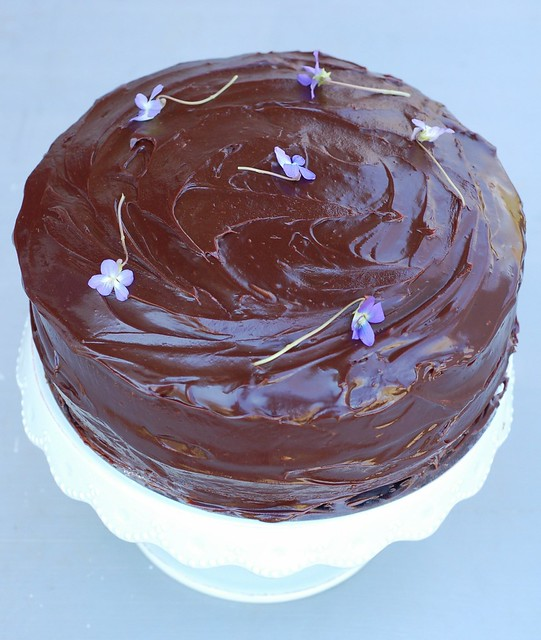 Chocolate sour cream layer cake by Eve Fox, Garden of Eating blog, copyright 2012