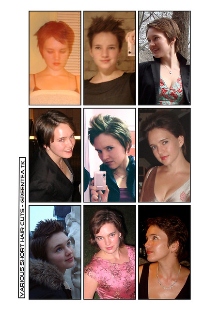 Some of my many short hair cuts, 2005 to 2009-ish