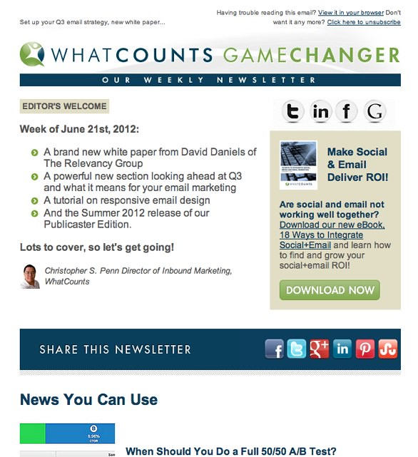 GameChanger: Email Marketing Tips from WhatCounts for 06/21/2012 — Archive