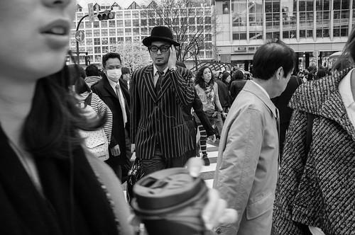 Man with hat at the Shibuya crossing. Tokyo 2012